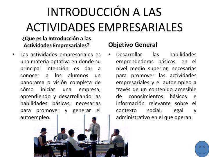 INTRODUCCIÓN A LAS ACTIVIDADES EMPRESARIALES