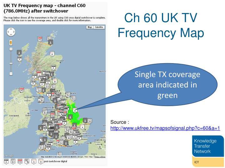 Ch 60 UK TV Frequency Map