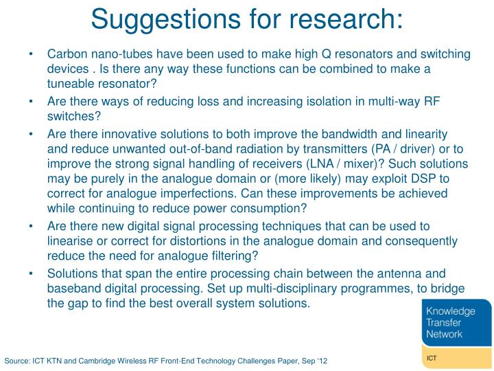 Suggestions for research: