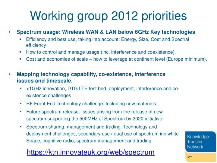 Working group 2012 priorities