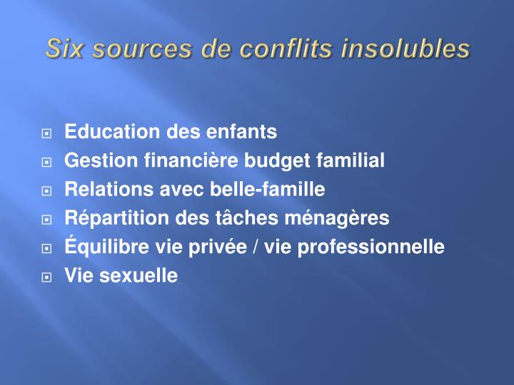 Six sources de conflits insolubles