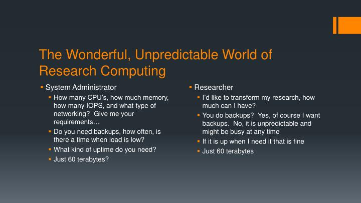 The Wonderful, Unpredictable World of Research Computing