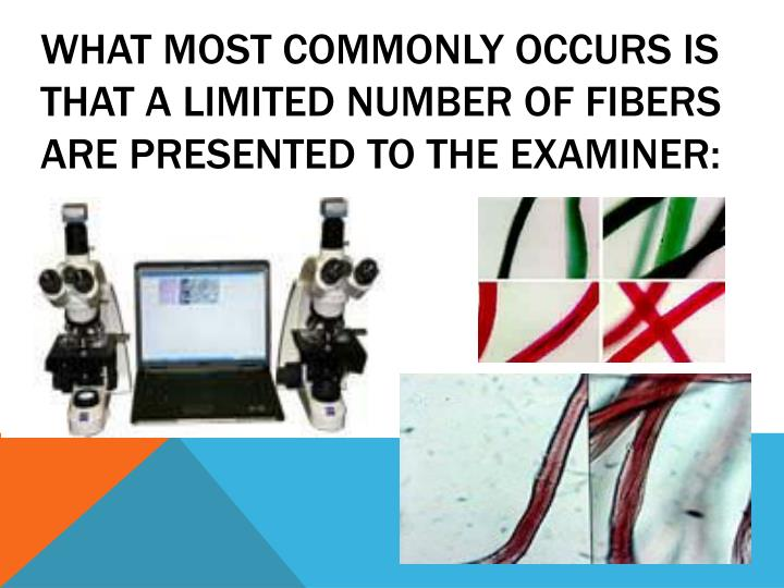 What most commonly occurs is that a limited number of fibers are presented to the examiner:
