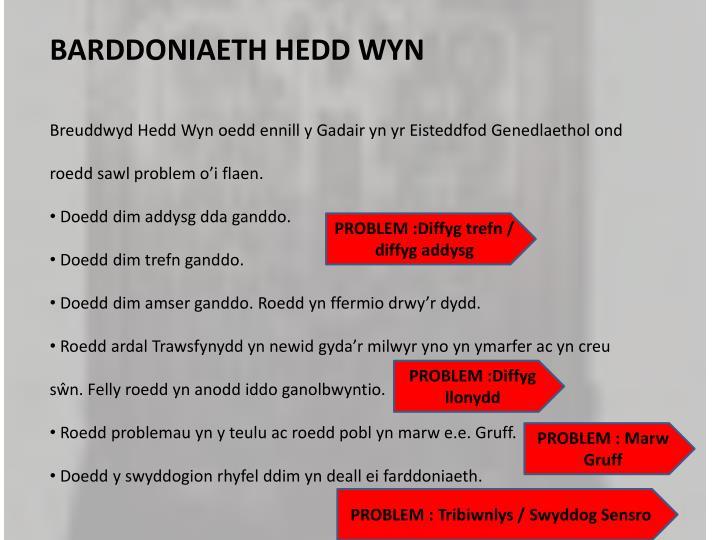 BARDDONIAETH HEDD WYN