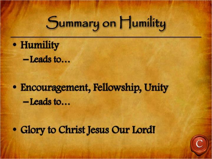 Summary on Humility