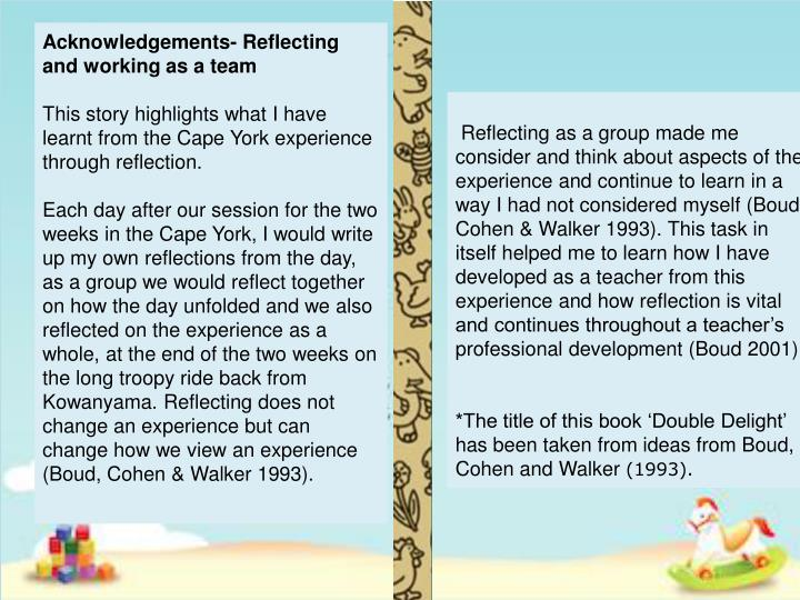 Acknowledgements- Reflecting and working as a team