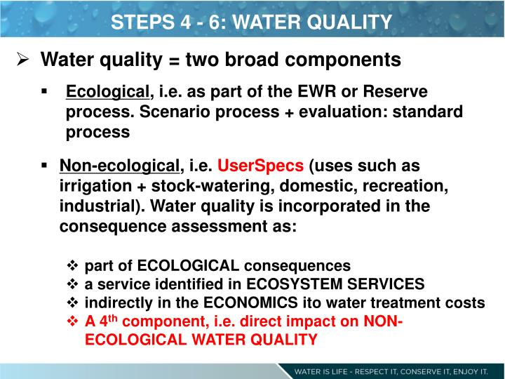 STEPS 4 - 6: WATER QUALITY