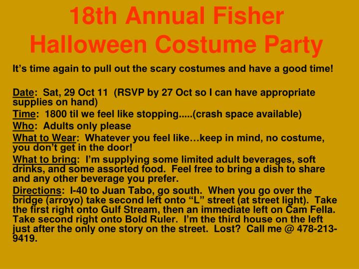 18th annual fisher halloween costume party