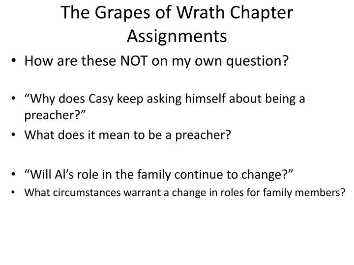 The Grapes of Wrath Chapter Assignments