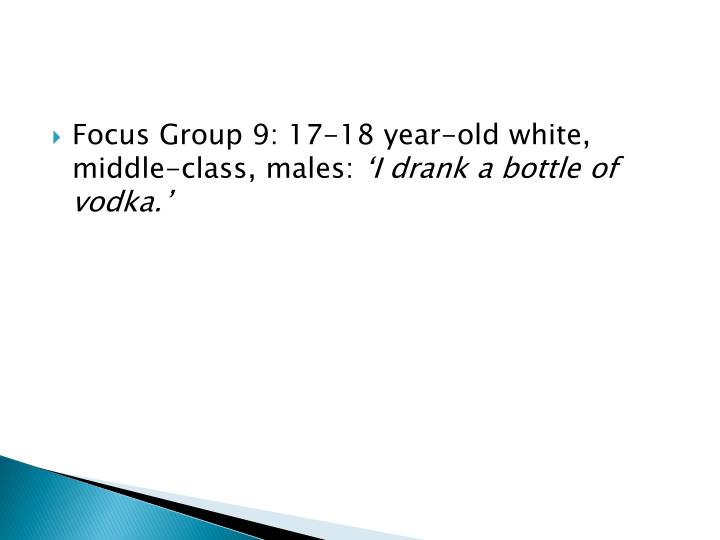 Focus Group 9: 17-18 year-old white, middle-class, males: