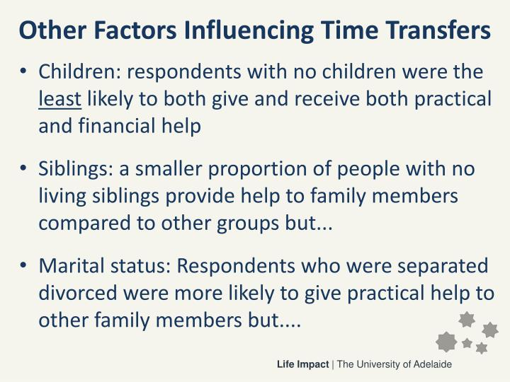 Other Factors Influencing Time Transfers