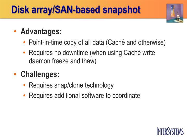 Disk array/SAN-based snapshot