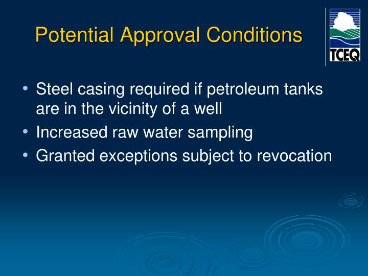 Potential Approval Conditions