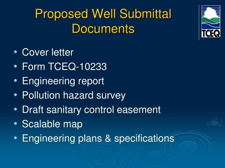 Proposed Well Submittal Documents