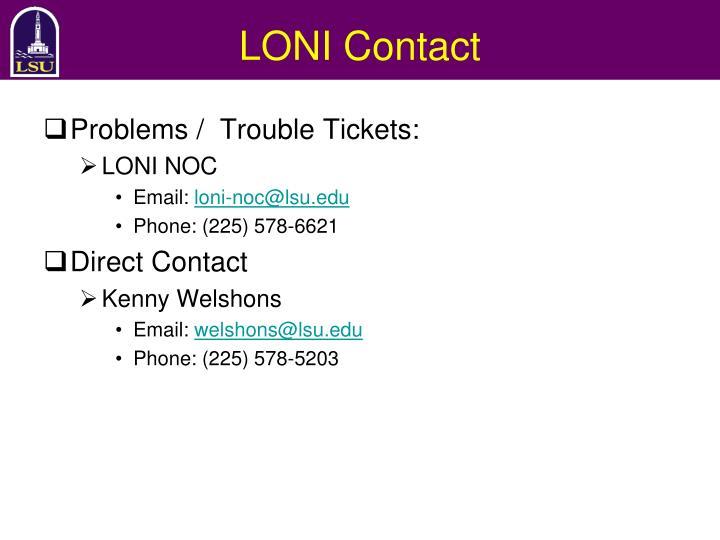 LONI Contact