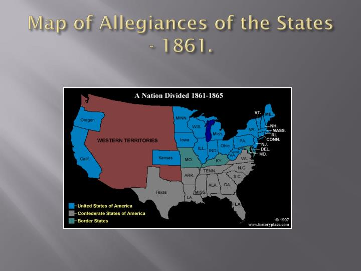 Map of Allegiances of the States - 1861.