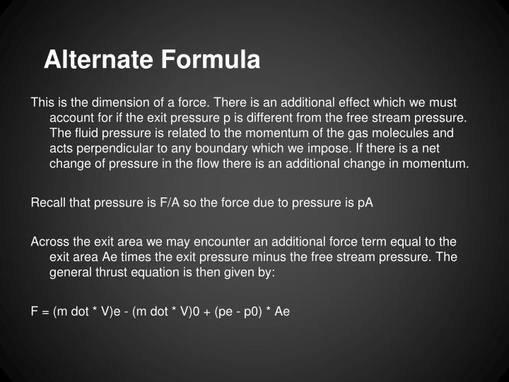 Alternate Formula