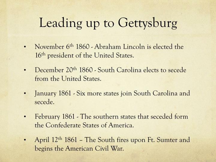Leading up to Gettysburg