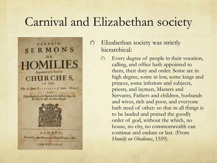Carnival and Elizabethan society