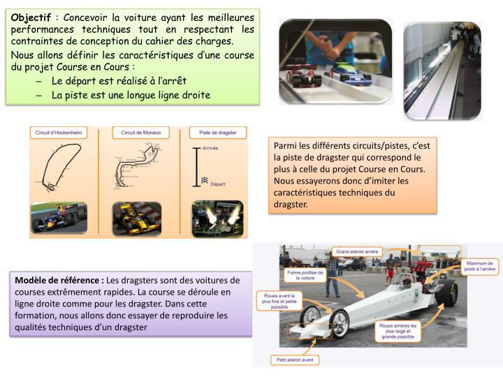 Parmi les différents circuits/pistes, c'est la piste de dragster qui correspond le plus à celle du projet Course en Cours. Nous essayerons donc d'imiter les caractéristiques techniques du dragster.