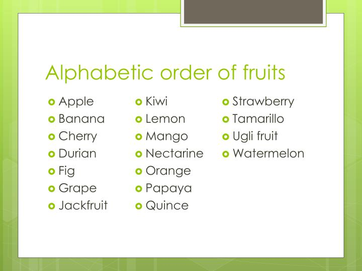 Alphabetic order of fruits