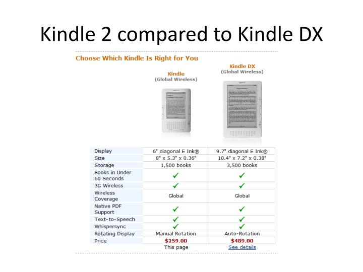 Kindle 2 compared to Kindle DX