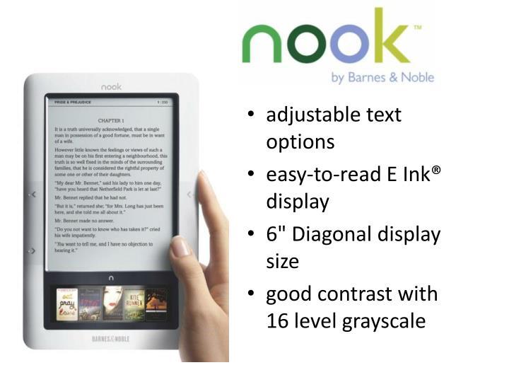 adjustable text options