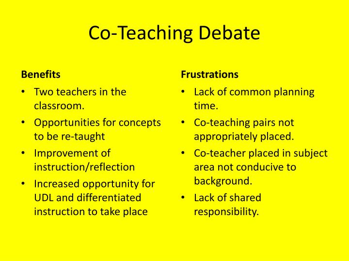 Co-Teaching Debate