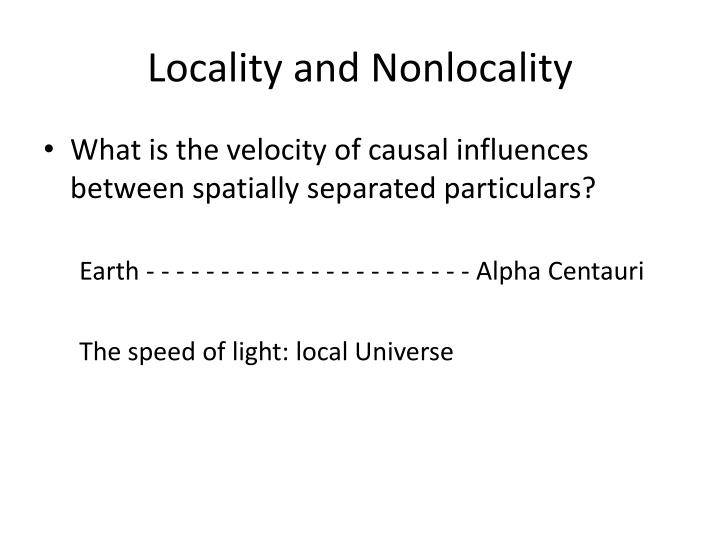 Locality and Nonlocality