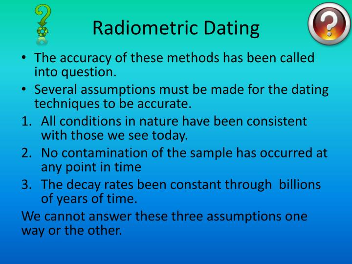 radiometric dating methods Interweaving the relative time scale with the atomic time scale poses certain problems because only certain types of rocks, chiefly the igneous variety, can be dated.