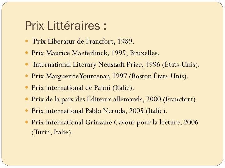 Prix Littéraires :