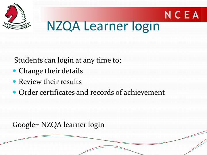 NZQA Learner login