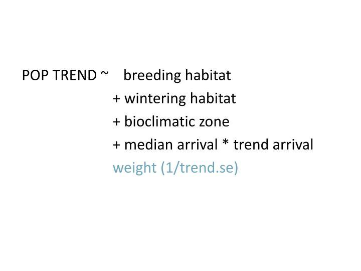 POP TREND ~    breeding habitat