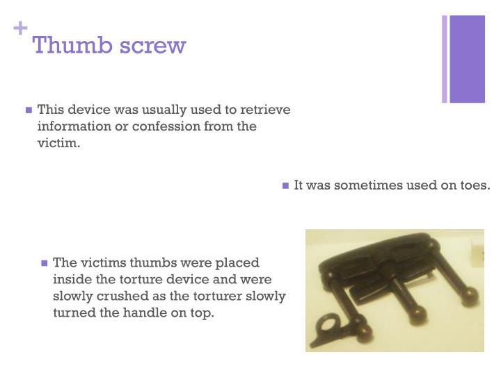 Thumb screw