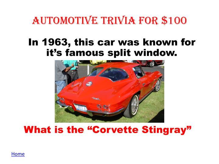 Automotive Trivia for $100