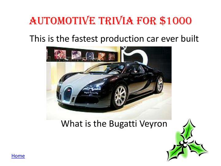 Automotive Trivia for $1000
