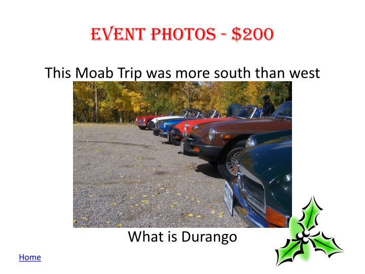Event photos - $200