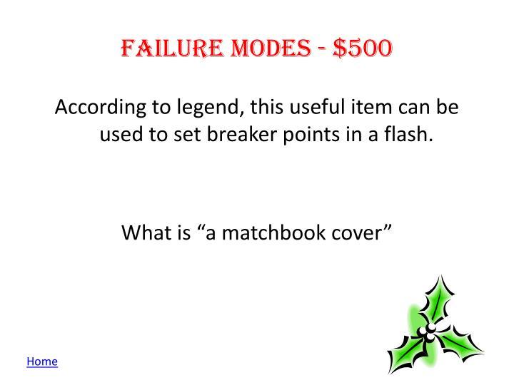Failure modes - $500