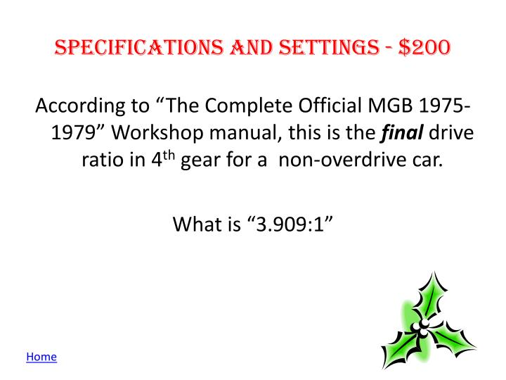 Specifications and Settings -
