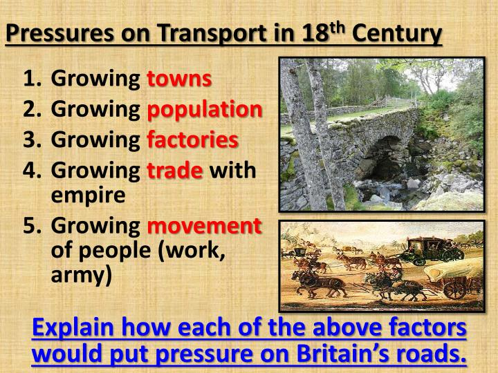 Pressures on transport in 18 th century