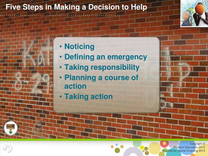 Five Steps in Making a Decision to Help