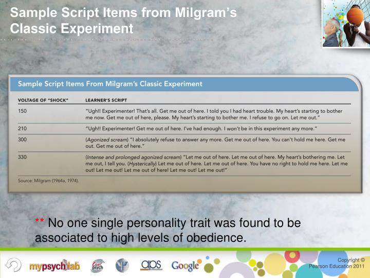 Sample Script Items from Milgram's