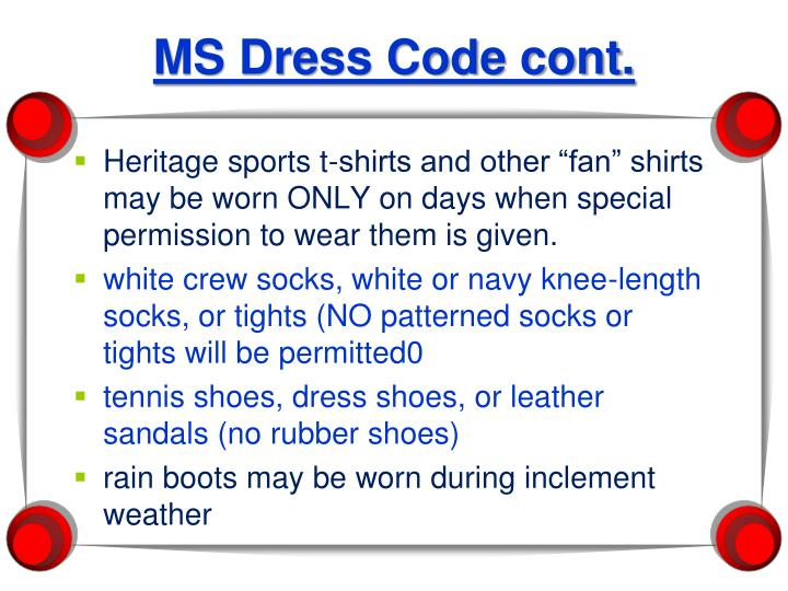 MS Dress Code cont.