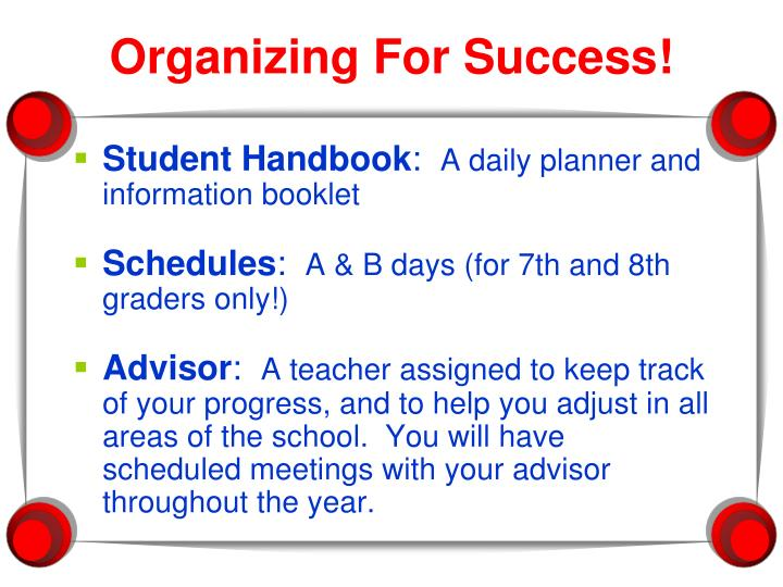 Organizing For Success!