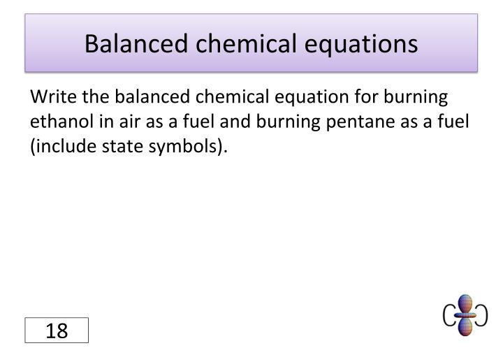 Balanced chemical equations