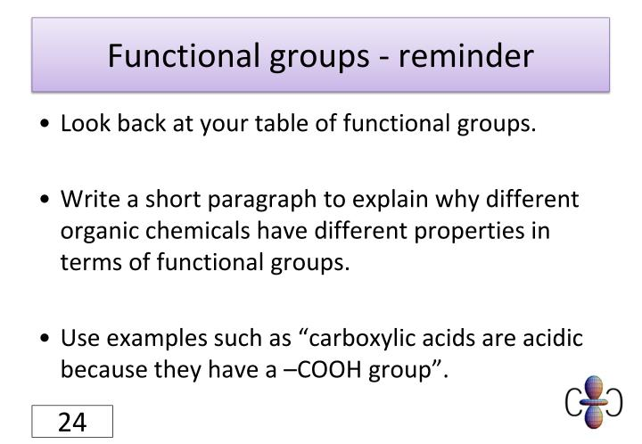 Functional groups - reminder