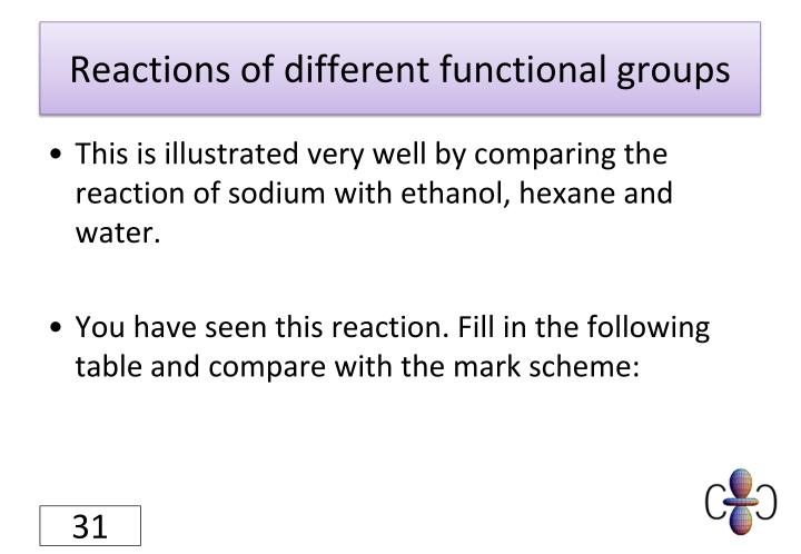 Reactions of different functional groups