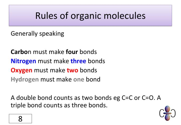 Rules of organic molecules