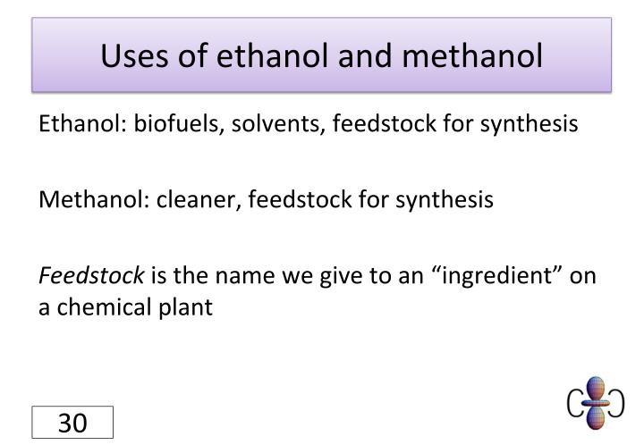Uses of ethanol and methanol