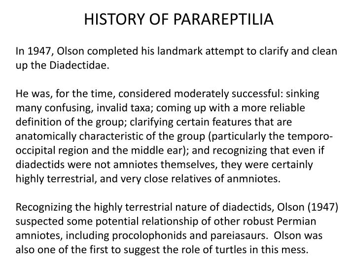 HISTORY OF PARAREPTILIA